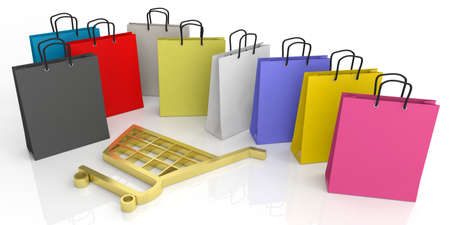 e shop: 3d rendering shopping bags and shopping cart symbol on white background