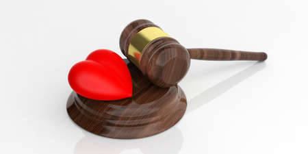 judgement day: 3d rendering auction gavel and a red heart on white background