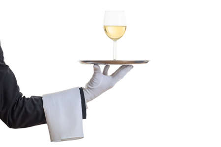 Waiter offering wine on a tray