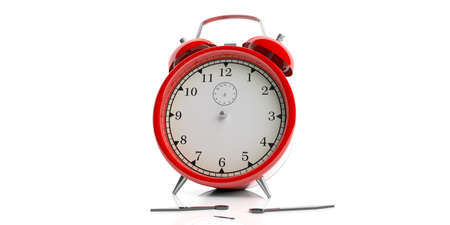 3d rendering red alarm clock on white background Stock Photo
