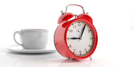 3d rendering red alarm clock and a cup of coffee on white background