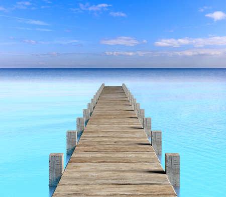 dock: 3d rendering wooden dock in the sea Stock Photo