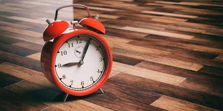 3d rendering red alarm clock on wooden floor background
