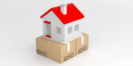 moving box: 3d rendering house on closed moving box and white background