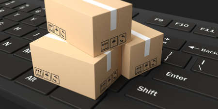 moving boxes: 3d rendering closed moving boxes on black keyboard Stock Photo