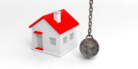 3d rendering hanging rusty wrecking ball and small house Stock Photo