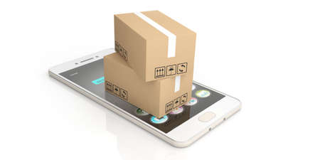 moving boxes: 3d rendering closed moving boxes on smart phone and white background