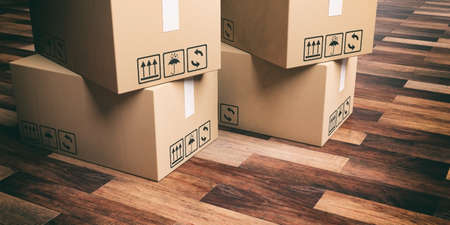 moving boxes: 3d rendering closed moving boxes on wooden floor Stock Photo