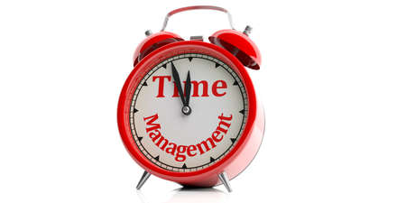 3d rendering time management red alarm clock on white background