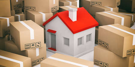 moving boxes: 3d rendering house on closed moving boxes