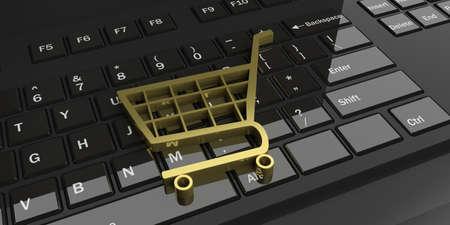 3d rendering golden trolley on a black keyboard
