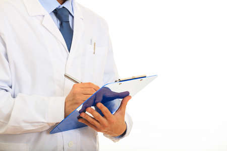 Doctor holding a blue clipboard on white background