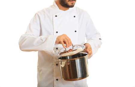 coo: Chef holding a pot isolated on white background Stock Photo