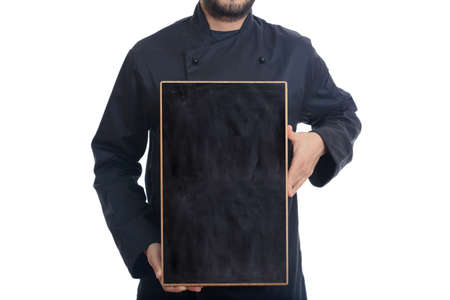 bl: Chef holding a board isolated on white background Stock Photo