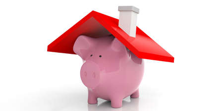 counter top: 3d rendering pink piggy bank and a house roof on white background Stock Photo