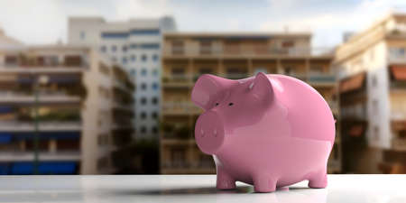 3d rendering pink piggy bank on a white surface Stock Photo