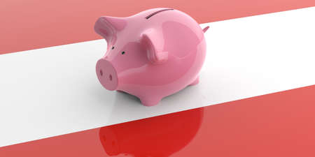 austria flag: 3d rendering pink piggy bank isolated on Austria flag Stock Photo