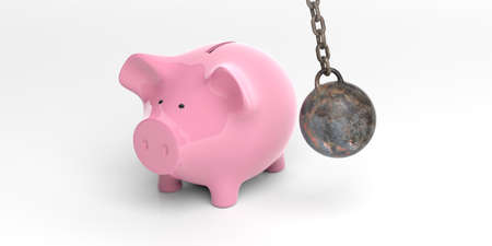 pig iron: 3d rendering pink piggy bank and wrecking ball on white background