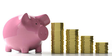 3d rendering pink piggy bank and golden coins on white background