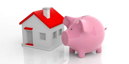 counter top: 3d rendering pink piggy bank and a house on white background Stock Photo