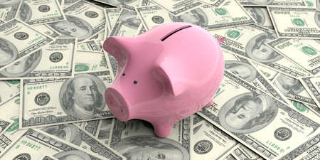 3d rendering pink piggy bank isolated on 100 dollar banknotes