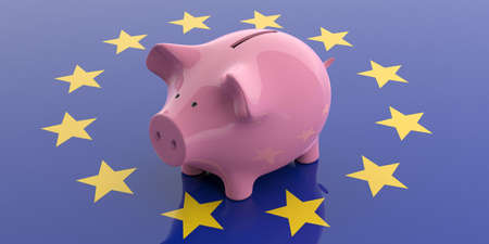 3d rendering pink piggy bank isolated on EU flag