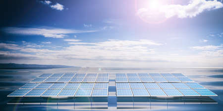 rendering: 3d rendering solar panels on blue sea and sky background