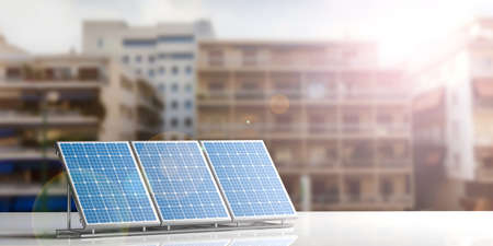 3d rendering solar panels on city blurred background