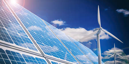 3d rendering solar panels and wind generators on blue sky background Stock Photo