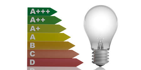 3d rendering energy efficiency rating and a glass bulb on white background
