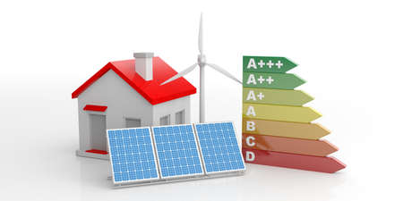 consuming: 3d rendering energy efficiency classification and a small house on white background Stock Photo