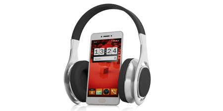 Paire de casque de rendu 3D et un smartphone sur fond blanc Banque d'images - 68515693