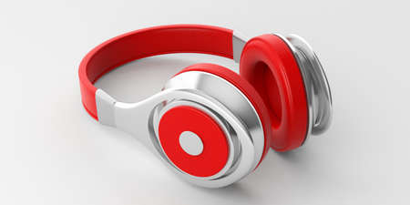 3d rendering pair of red wireless headphones on white background