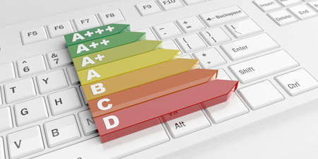 3d rendering energy efficiency classification on a white keyboard Stock Photo