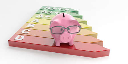 3d rendering energy efficiency and a piggy bank on white background