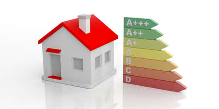 3d rendering energy efficiency classification and a small house on white background Stock Photo