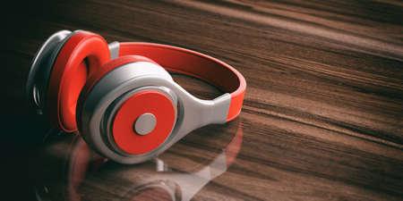 wireless: 3d rendering pair of red wireless headphones on wooden background