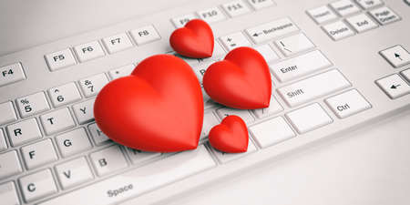 3d rendering red hearts on a white keyboard