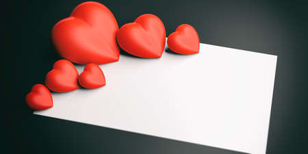 3d rendering red hearts on a blackboard and white space Stock Photo