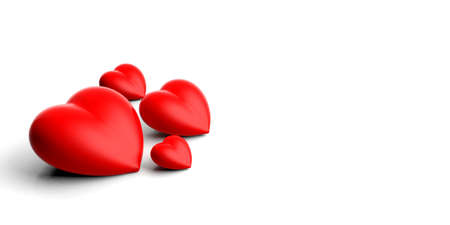 3d rendering red hearts on white background Stock Photo