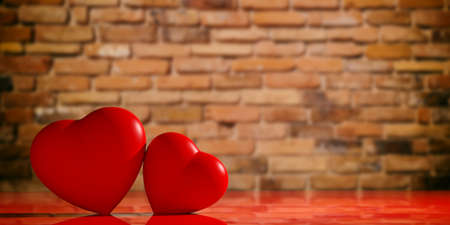 3d rendering red hearts on a brick wall  backgound
