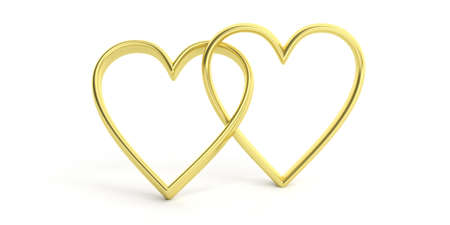 vows: 3d rendering golden joined hearts on white background Stock Photo