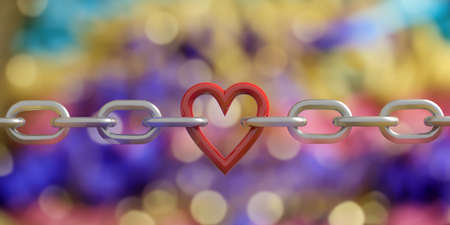 3d rendering red heart in a chain on bokeh background Stock Photo