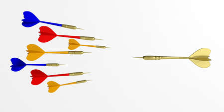 3d rendering colorful flying darts on white background