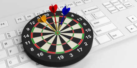 dart board: 3d rendering colorful darts board on white keyboard