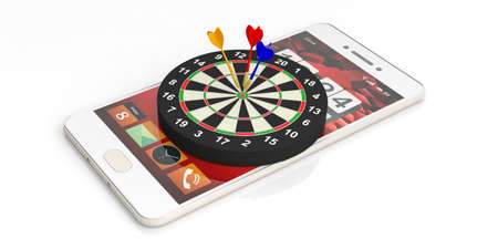 dart board: 3d rendering colorful darts on target on a smartphone on white background