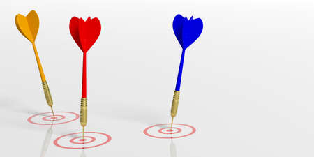 3d rendering colorful darts on targets on white background Stock Photo