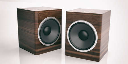 two party system: 3d rendering wooden audio speaker boxes on white background Stock Photo