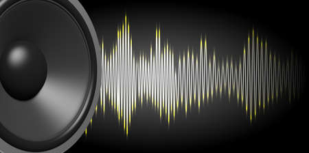 3d rendering black speaker and sound wave on black background