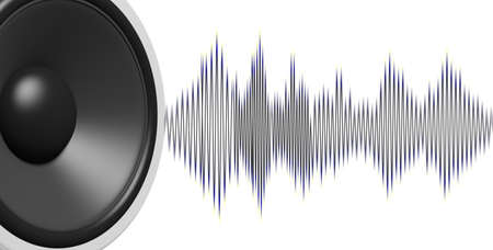 3d rendering black speaker and sound wave on white background Stock Photo